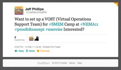Jeff Phillips VOST startup tweet